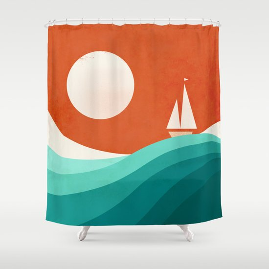 Wave (night) Shower Curtain