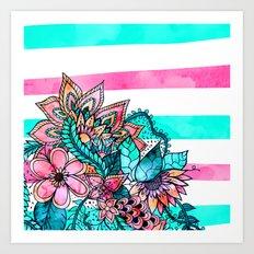 Floral watercolor modern pink teal stripes Art Print