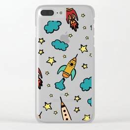 Colorful spaceshuttle in universe Clear iPhone Case