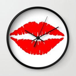 Red Lipstick Kiss Wall Clock