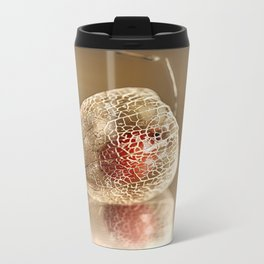 Physalis on gold Metal Travel Mug