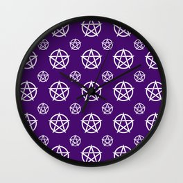 Dark Purple White Pentacle Pattern Wall Clock