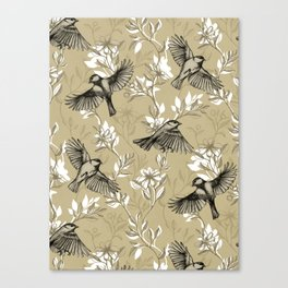 Flowers and Flight in Monochrome Golden Tan Canvas Print
