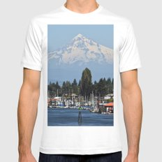 Adventure Mount Hood from Portland Oregon Travel Washington PNW Tapestry MEDIUM Mens Fitted Tee White