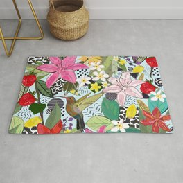 Tropical Pattern With Humming Bird, Strawberry and Colorful Lily Floral Pattern Rug