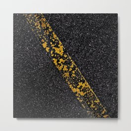 Old Yellow painted line on asphalt road Metal Print