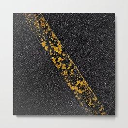 Old Yellow painted line on asphalt road Metal Print