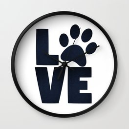 Love Pets Paw Cat Dog Cute Wall Clock