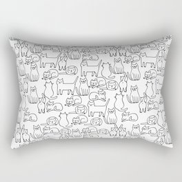 Funny sketchy white kitty cats Rectangular Pillow