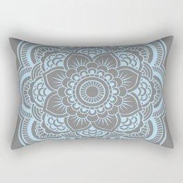 Mandala Flower Gray & Baby Blue Rectangular Pillow
