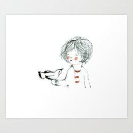 bird in my  hand Art Print