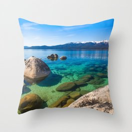 Let's Jump In At Sand Harbor, Lake Tahoe Throw Pillow