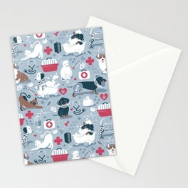 Veterinary medicine, happy and healthy friends // pastel blue background Stationery Cards