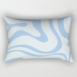 Soft Liquid Swirl Abstract Pattern Square in Powder Blue Rectangular Pillow