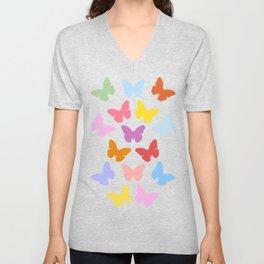 Multicoloured Butterflies Pattern Unisex V-Neck