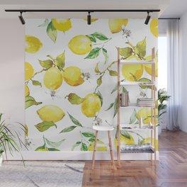 Watercolor lemons 8 Wall Mural