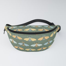 Honey Bees Pattern - Dark Green Backgound Fanny Pack