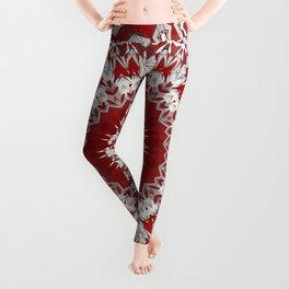 Red White Bohemian Mandala Design Leggings