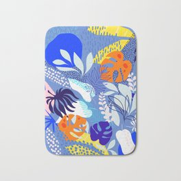 Keep Growing - Tropical plant on Blue Bath Mat