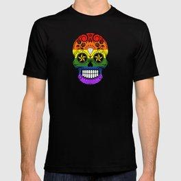 Gay Pride Rainbow Flag Sugar Skull with Roses T-shirt