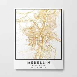 MEDELLÍN COLOMBIA CITY STREET MAP ART Metal Print