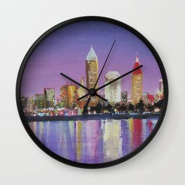 "Downtown Cleveland Ohio Skyline ""The Land"" in City Lights Wall Clock"