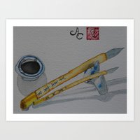 Sumi-e Painting Brushes and Ink  Art Print