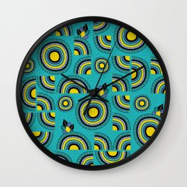 African teal hand-drawn cropped Mandalas Wall Clock