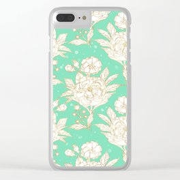 stylish golden and mint floral strokes design Clear iPhone Case