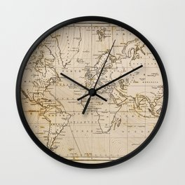 World Map 1844 Wall Clock