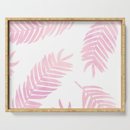 Pink Palm Leaves  |  White Background Serving Tray