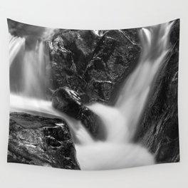 Shelving Rock Stream - Black & White Wall Tapestry