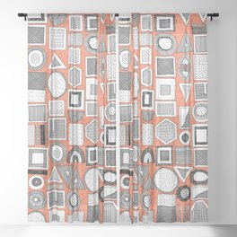 frisson memphis bw orange Sheer Curtain