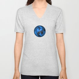 Blue and Black Yin Yang Dragons Unisex V-Neck
