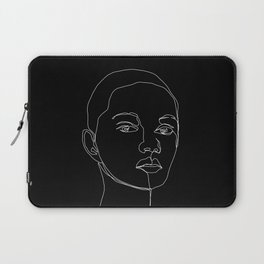Face one line black and white illustration - Cody Laptop Sleeve