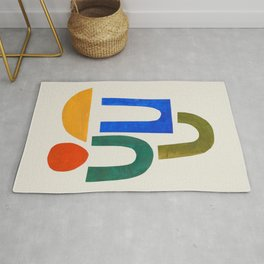 'School Playground' Paper Collage by Ejaaz Haniff Fun Colorful Mid Century Modern Minimal Shapes Pattern Rug