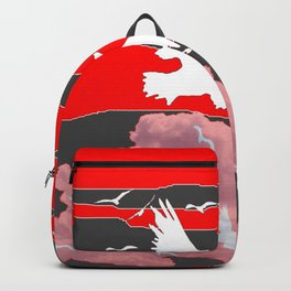 WHITE BIRDS IN FLIGHT RED-GREY SKY ABSTRACT Backpack