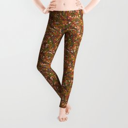 Woodland Forest Floor, Camouflage Plants in Woods Illustration Pattern in Forest Green & Brown Leggings