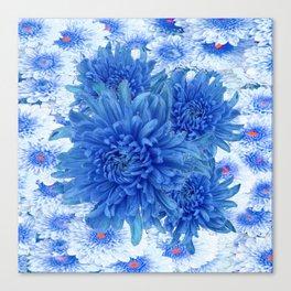 Oriental Style  Blue Chrysanthemums Garden Floral Pattern Canvas Print
