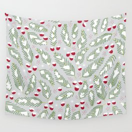 Winter Berries in Gray Wall Tapestry