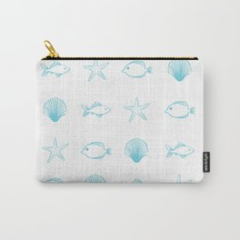 Sea Creatures Pattern - Light Blue Carry-All Pouch