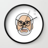 hayao miyazaki Wall Clocks featuring Hayao Miyazaki Portrait - White by Cedric S Touati