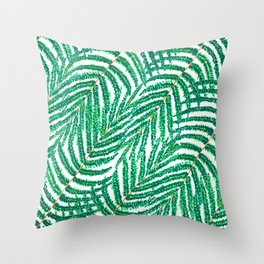 Green Tropical Ferns Throw Pillow