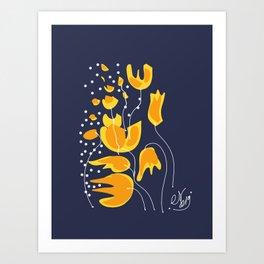 Yellow Flowers in the Night Minimal Art Art Print