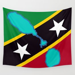 St. Kitts and Nevis Flag with Island Maps Wall Tapestry