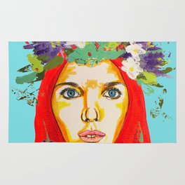 Red haired girl with flowers in her hair Rug