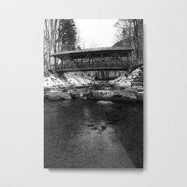 The bridge on the mountain river Metal Print