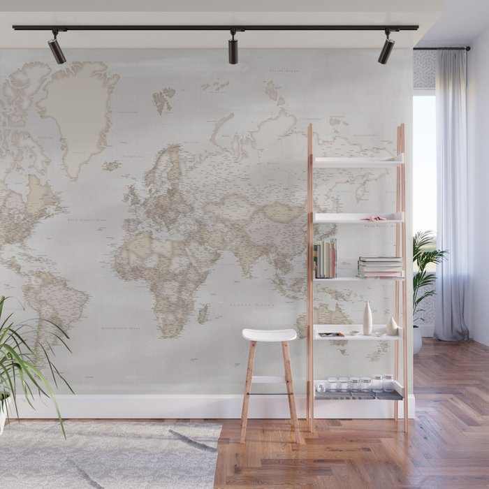 "Rustic and highly detailed world map with cities, ""Lucille"" Wall Mural"