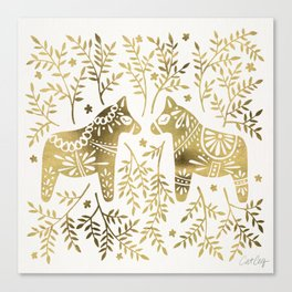 Swedish Dala Horses – Gold Palette Canvas Print