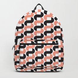 Geometric Pattern #184 (pink black knots) Backpack